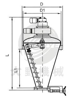 日本大野机械立式锥形混合机产品设计图